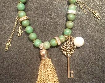 Green & Gold Dangle Charm Bracelet
