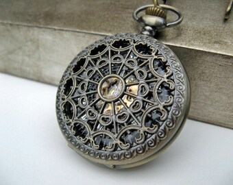 Antique Bronze Pocket Watch - 1882's Steampunk Mechanical Pocket Watch with Pocket Watch Chain - Groomsmen Gift - Item MPW151