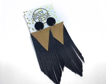 Boho Genuine leather tassel earrings