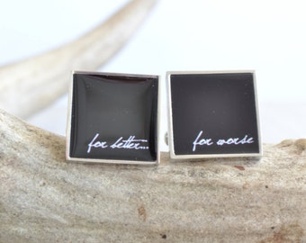 For Better For Worse, classic stainless steel cufflinks, black with white type, men's jewelry cufflink accessories (LN004)