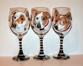 Pet Portraits Custom Hand Painted Set of 3 - 20 oz. Wine Glasses Pets Pet Lover Dog Cat Horse Personalized Paw Prints Painted Glasses