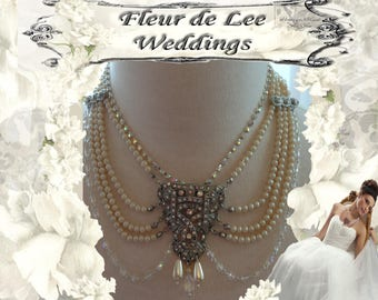 Bridal Pearl Art Deco Wedding Necklace and Earrings set