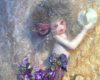 OOAK Mermaid Art Doll Soft Sculpture Cloth Mermaid Doll Ocean's Heart