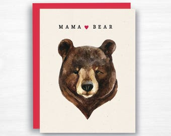Mama Bear Card - Mother's Day Card - Mom Card - Watercolor Mother's Day Card - Mom Birthday Card - Mama Card - Mom Card from Kids