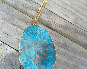 Gold Plated Ocean Agate Stone Pendant Necklace, Natural Stone Necklace, Gold Necklace, Long Necklace, Large Stone Necklace
