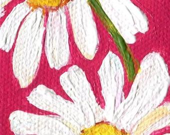 Shasta Daisy Painting Mini Painting, Easel, 2 x 4, dark pink background acrylic painting, mini canvas, small acrylic painting canvas art