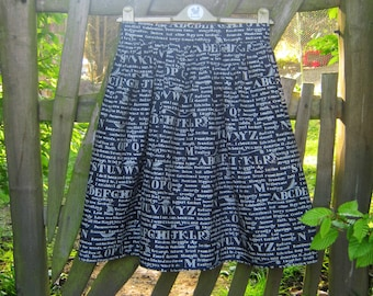 Handmade skirt,  Inspirational Words, blue, white , calligraphy, vintage fifties style, motivational quirky, retro