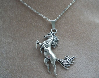 Silver Horse Pendant, Unixex Necklace, Silver Chain or Leather Cords, by Brendas Beading on Etsy