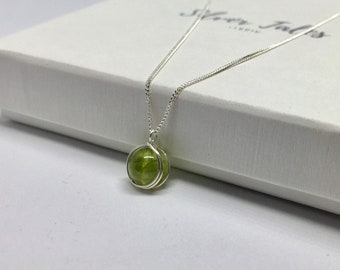 Silver peridot necklace, August birthstone pendant, 925 sterling silver natural peridot necklace, real peridot jewellery, peridot pendant