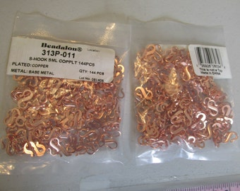 Bulk Beadalon S Hook Copper Clasps, Beadalon Clasps, Bulk Clasps, Copper, S Hook, Beadalon, Necklace, Bracelet, Clasp, Copper Hook, 144