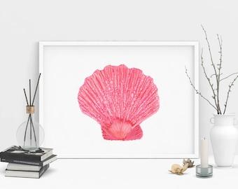 Pink Seashell Painting Art Print. Coastal Wall Art. Beach House Decor. Alcohol Ink Painting Print.