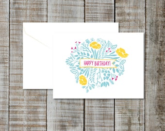 Greeting Card Happy Birthday - Blank