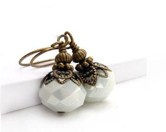 White Earrings - Victorian Style Dangles - Bronze Beads - Boho Bridal Earrings - Wedding Jewelry
