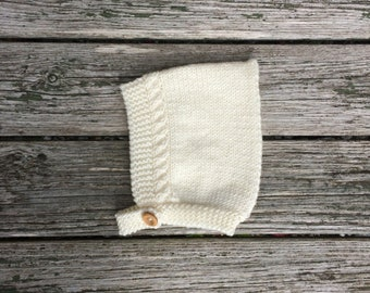 Merino Wool Cable Knit Pixie Hat in Cream - Made to Order
