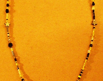 Name-Tag-Glasses-Beaded-Holder-Lanyard-Black-clear-yellow-beads-with Stars!