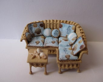 Quarter scale miniature wicker sectional sofa & table