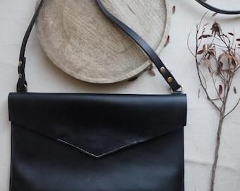 Black leather bag, cross body.    Simple cross body bag.  Handmade in England