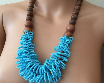 Gorgeous Wooden Brown And Turquoise Glass Seeds Statement Ethnic Necklace