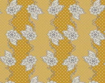 Fabric PATCHWORK mustard LILLYBELLE by Art Gallery Fabrics