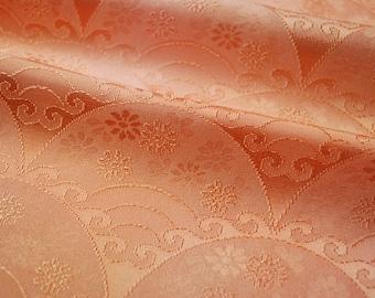 "13.9""w. x 14.8""l. Vintage silk kimono fabric orange coral wave 2684xG"