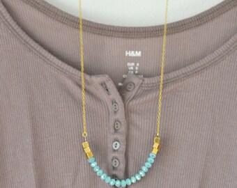 Minimal Necklace - Geometric Gold Necklace - Light Blue Necklace