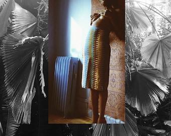INEZ High Waisted Pencil Skirt // Wax Print