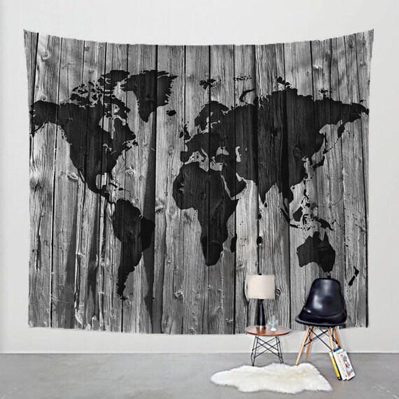 Bois de grange tapisserie carte monde sur tissu Art Print