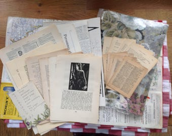 Old French book pages bundle old maps dictionary pages vintage papers book pages scrapbooking crafts 41