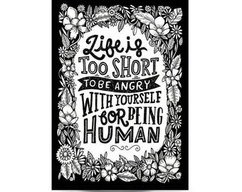 A3 Art Print 'Life is Short' - Hand lettering, typography, black and white art, illustration