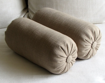 PAIR  decorative lumbar bolster pillows 6x14 6x16 8x18 6x20 6x22 TOAST/SAND