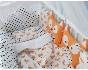 """Crib Bumpers, for baby girl, for baby boy, for baby, crib bedding, bed tent, children's bed linen """"Owns"""""""