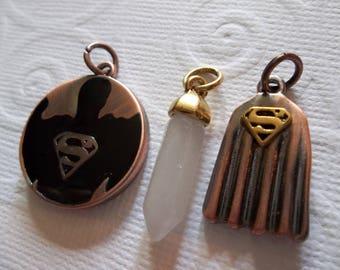 Superman Charms - D.C. Comics Originals - Copper, Black & Gold - Superman Cape Shield Logo and Crystal - Qty 3