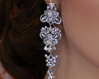 Bridal Earrings Wedding Jewelry Party Bride Crystal Dangle Accessory Maid of Honor Accessories Pageant Prom Weddings Drop Earrings 115