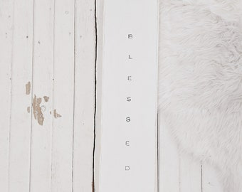 blessed black and white wood sign