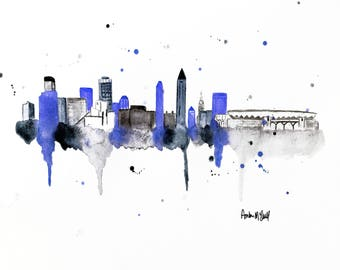 Cleveland Skyline Art - Cleveland Painting - Cleveland Skyline Print - Ohio Themed Art - Cleveland Themed Art - Cleveland Ohio Art