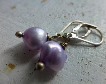 Lilac Purple Freshwater Pearl Earrings Sterling Silver