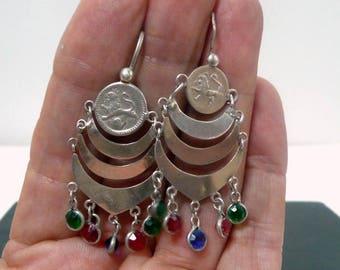 Guatemala Sterling Silver Earrings //  Ethnic Mayan Coin Chandelier Earrings //  Vintage Jewelry