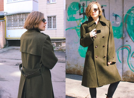 Khaki TRACHTEN Military Overcoat Breasted Coat gt; 100 Coat Wool Green Style L Vintage German New Wool Trench Unused GERLACH Double qxPfO8E