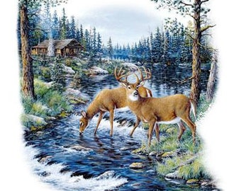 Beautiful Buck and Deer Scene on Sweatshirt - U Pic Size - Small to XXL