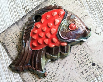 231. Wondrousstrange Raku Large  Fish Pisces Blue Green Copper Red Rust Raku Cosplay Pendant