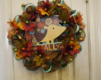 Cute Happy Fall Y'all, Fall Wreath, Hedgehog wreath, Fall Wreath, All Occasion, Office, Gifts for her, Gifts for him, Housewarming Gift