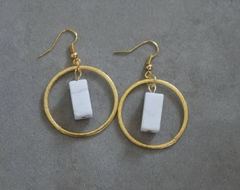 H O V E R II-  Construct Series- Contemporary Gold Circle and White Howlite Drop Earrings