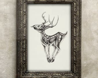 Deathly Fawn Art Print ( Dark Deer )