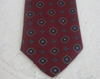 Vintage Nordstrom Silk Skinny Tie Navy Blue and Burgundy
