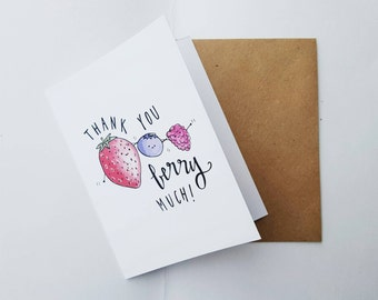 THANKS BERRY MUCH - Card - Thank You, Just Because, Cute Punny Love Handmade - For Him/Her Best Friend Boyfriend Coworker Work Volunteer