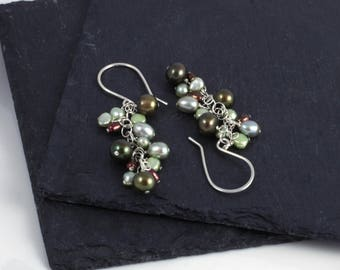 Green freshwater pearl and sterling silver wire-wrapped dangle earrings E0182