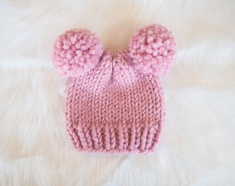 Baby Knit Bear Hat / Child Chunky Beanie / Knit Bear Hat Pom Poms / Toddler Knit Baby Hat / Bear Knit Child Hat
