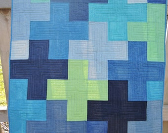 Blue and Green Plus Quilt