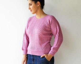 Vintage Pink Sweater / 1980s Knit Sweater / Size M L