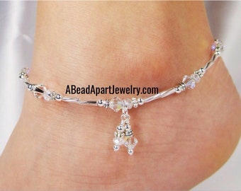 Anklet, Ankle Bracelet, Clear Silver Anklet, Double Dangle Anklet, Crystal Anklet, Beach Jewelry, Foot Jewelry, Beaded Anklet, Ankle Jewelry